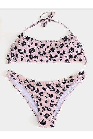 YOINS Women Long Sleeve - Backless Design Leopard Halter Long Sleeves Bikini