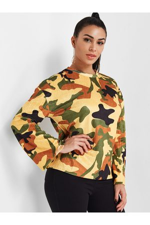 YOINS Camouflage Round Neck Long Sleeves Corduroy Top