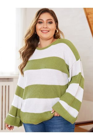 YOINS Plus Size Color Blocking Round Neck Long Sleeves Jumper
