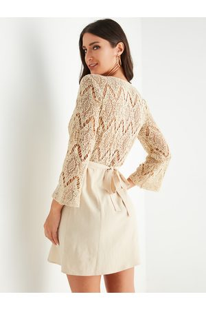 YOINS Beige Lace Patchwork Belt Design V-neck Long Sleeves Dress