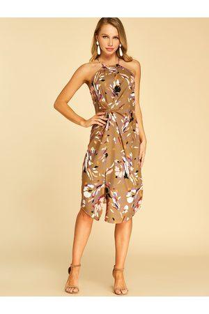 YOINS Random Floral Print Slit Hem Sleeveless Dress
