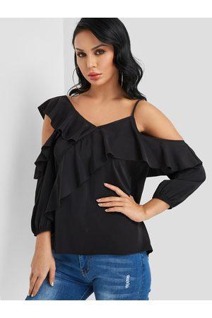 YOINS Tiered Design Cold Shoulder Fashion Blouse