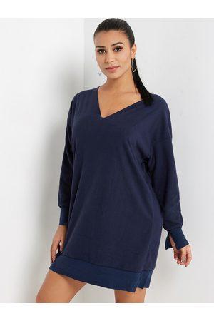 YOINS Royal V-neck Long Sleeves Patchwork Sweatshirt Dress