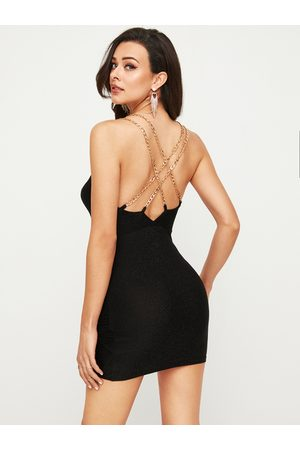 YOINS Black Criss-cross Backless Chain Design Spaghetti Strap Dress