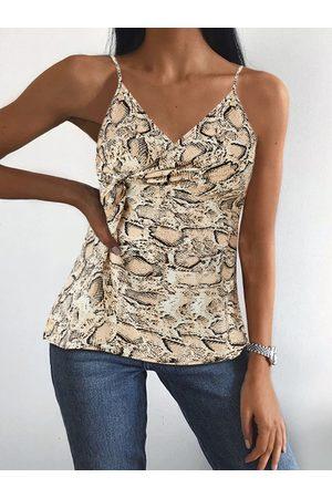 YOINS Twisted Snake Print V-neck Cami