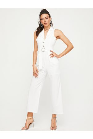 YOINS White Backless Design Sleeveless Jumpsuit