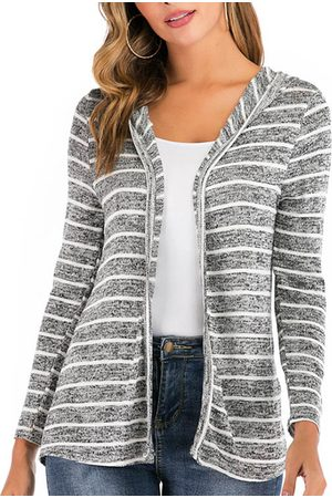 YOINS Grey Striped Long Sleeves Cardigan