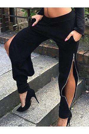 YOINS Black Zip Design Stretch Waistband Pants