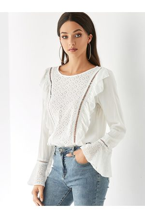 YOINS Round Neck Bell Long Sleeves Blouse