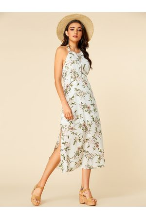 YOINS Halter Self-tie Backless Random Floral Print Maxi Dress