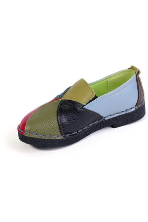 YOINS Genuine Leather Color block Slip-on Loafers