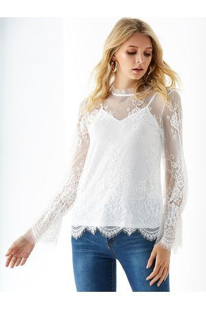 YOINS Stand Collar Lace With Lining Blouse