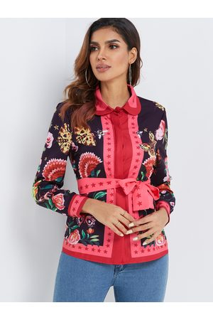 YOINS Random Scarf Print Long Sleeved Satin Shirt