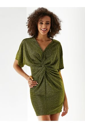 YOINS Knotted Front Design V-neck Bodycon Dress