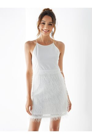 YOINS Feather Zip Design Halter Sleeveless Dress