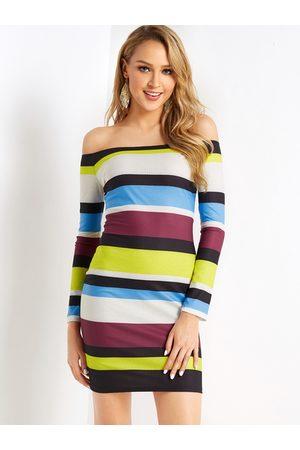 YOINS Women Bodycon Dresses - Casual Stripe Off The Shoulder Long Sleeves Rib Dress
