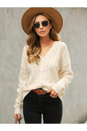 YOINS Women Long Sleeve - Button Design V-neck Long Sleeves Cardigan