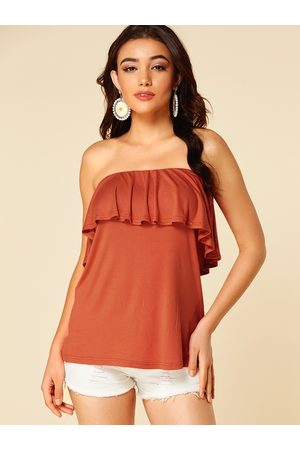 YOINS Ruffle Trim Off The Shoulder Sleeveless Cami