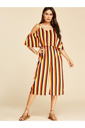 YOINS Multi Stripe Tiered Design Wide Leg Jumpsuit