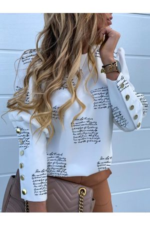 YOINS White Button Design Letter Puff Sleeves Blouse