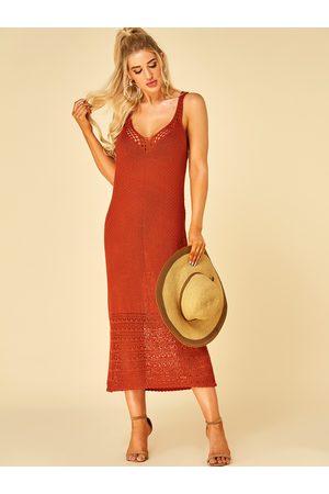 YOINS Backless Design Deep V Neck Sleeveless Beach Dresses