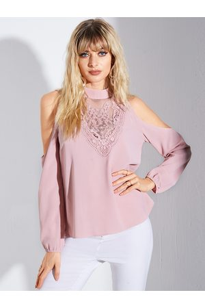 YOINS Pink Lace Cold shoulder Crew Neck Long Sleeves Blouse