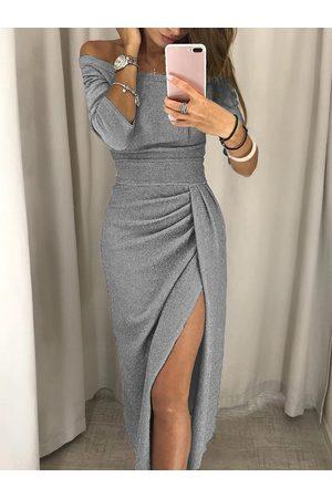 YOINS Grey Off The Shoulder Half Sleeves Ruched Dress