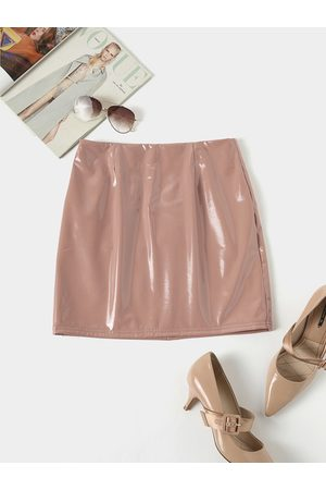 YOINS Khaki Zip Design PU Leather Skirt