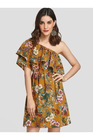 YOINS Floral Print Double Layer Asymmetrical Loose Waist Dress