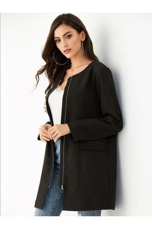YOINS Zip Front Long Sleeves Coat
