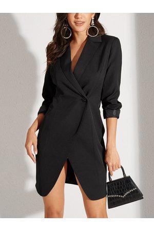 YOINS Women Midi Dresses - Black Tailored Button Design With Slit Hem Long Sleeves Dress