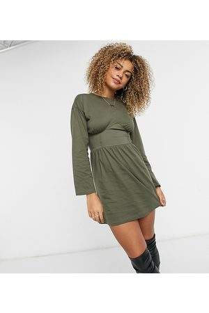 COLLUSION Corset detail long sleeve t-shirt dress in khaki