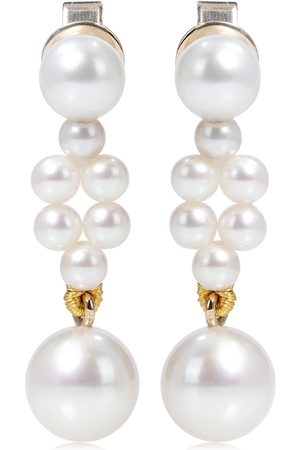 SOPHIE BILLE BRAHE Petite Tressé 14kt gold earrings with pearls
