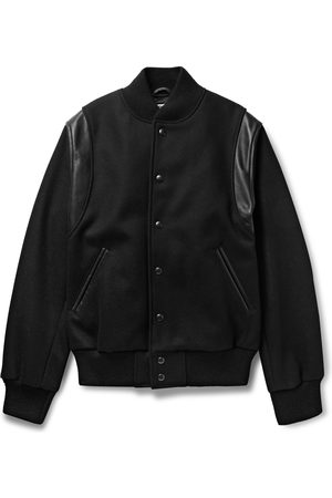 Golden Bear Men Leather Jackets - The Hayes Leather-Panelled Wool-Blend Bomber Jacket