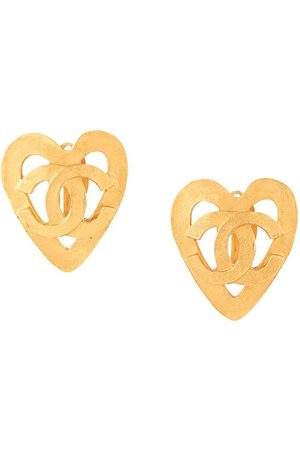 CHANEL 1995 cut-out heart CC clip-on earrings