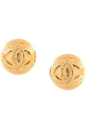 CHANEL 1994 CC button earrings