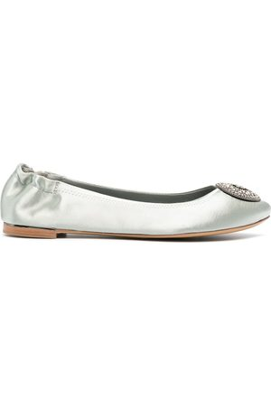 Tory Burch Satin gemstone-logo ballerina shoes