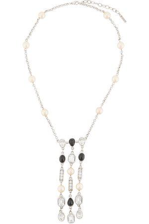 Susan Caplan 1990s crystal-embellished drop-pendant necklace