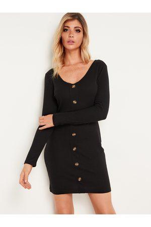 YOINS Button Design Deep V Neck Bodycon Dresses