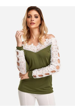 YOINS Women Long Sleeve - Off The Shoulder Lace Stitching Long Sleeves T-shirts