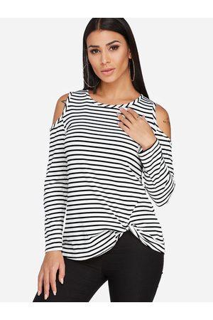 YOINS Crossed Front Design Stripe Cold Shoulder Round Neck Long Sleeves T-shirt