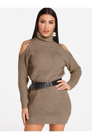 YOINS Cold Shoulder Design Plain Turtleneck Long Sleeves Dress