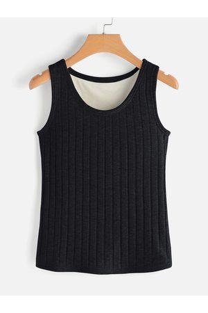 YOINS Women Tank Tops - Round Neck Sleeveless Plush Lining Tank Top