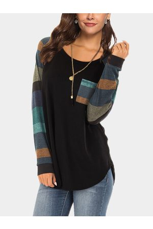 YOINS Color Block Side Pockets Stripe Long Sleeves Round Neck T-shirts
