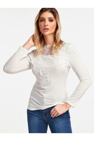 YOINS Women Long Sleeve - Lace Insert Plain Round Neck Long Sleeves T-shirt