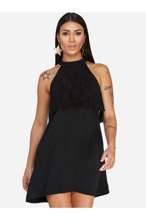 YOINS Women Party Dresses - Button Keyhole Design Halter Lace Insert Party Dress