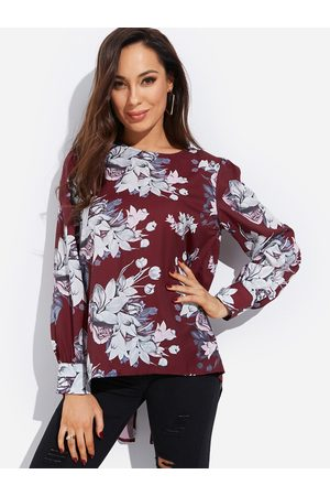 YOINS Zip Back Random Floral Print Round Neck Long Sleeves Blouse