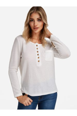 YOINS Single breasted Crew Neck Button Design Long Sleeves T-shirts With Pocket