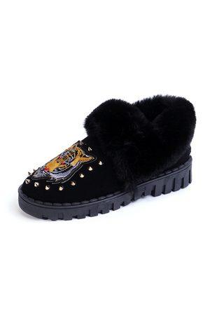 YOINS Tiger Pattern Rivets Embellished Fur-Lined Snow Boots