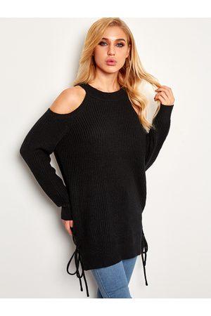 YOINS Lace-up Design Hem Cold Shoulder Knitting Jumpers